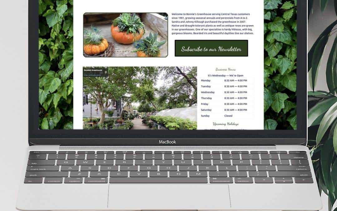 Bonnie's Greenhouse Website Wednesday