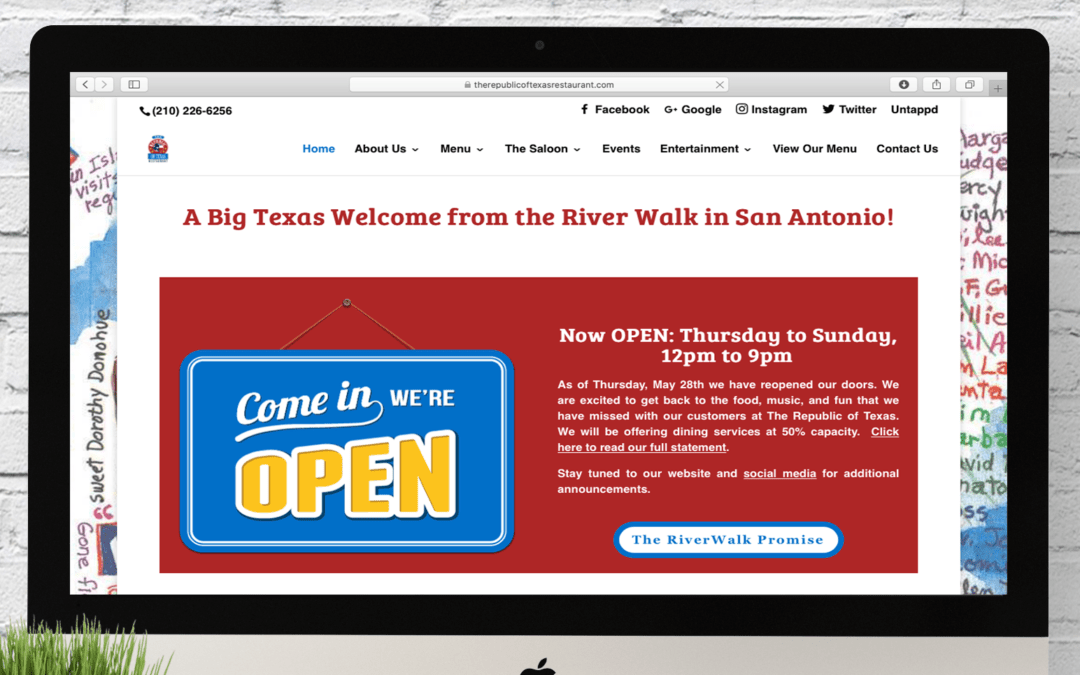 The Republic of Texas Restaurant Website Wednesday